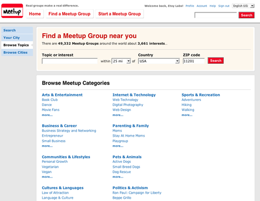 Meetup screenshot