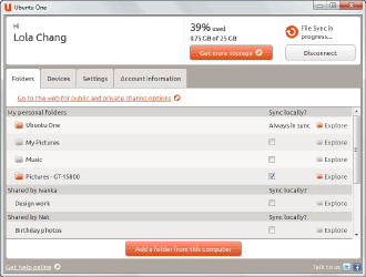 Ubuntu One screenshot