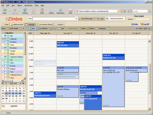 Zimbra screenshot